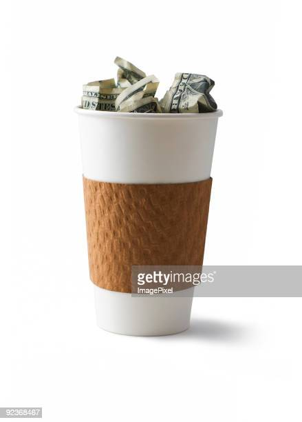 Coffee filled with cash