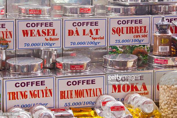 Coffee for sale in the market in Ho Chi Minh City