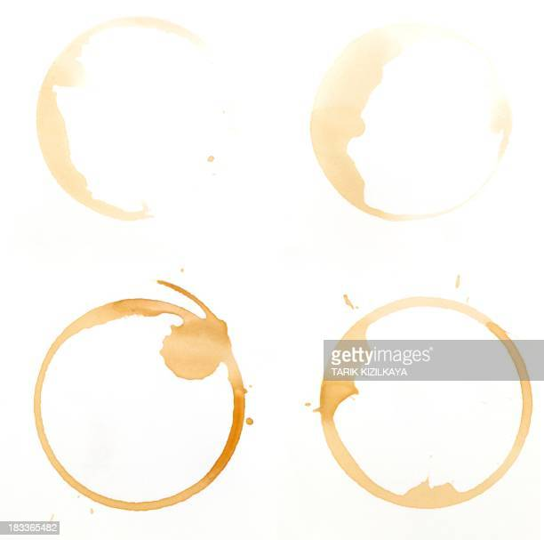 Coffee glass ring stains on a white background