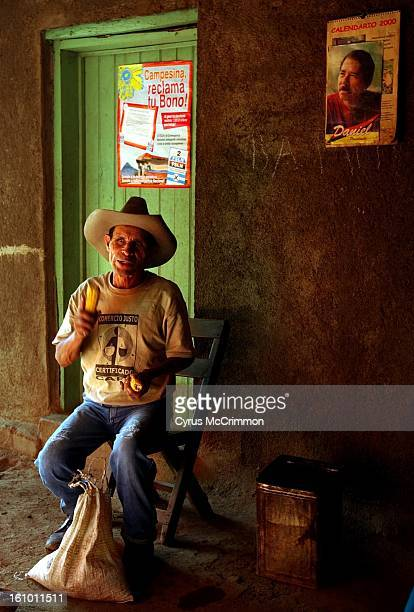 Coffee grower and Starbucks brochure icon for fair trade coffee Santiago Rivera at his home Unilde Nicaragua on September 10 2001 Rivera benefits...