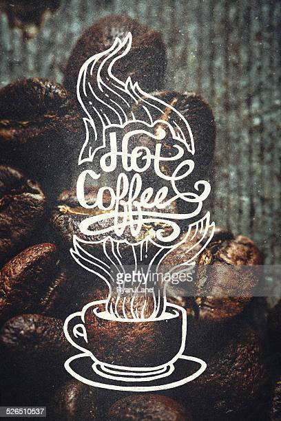 Coffee Illustration and Roasted Beans