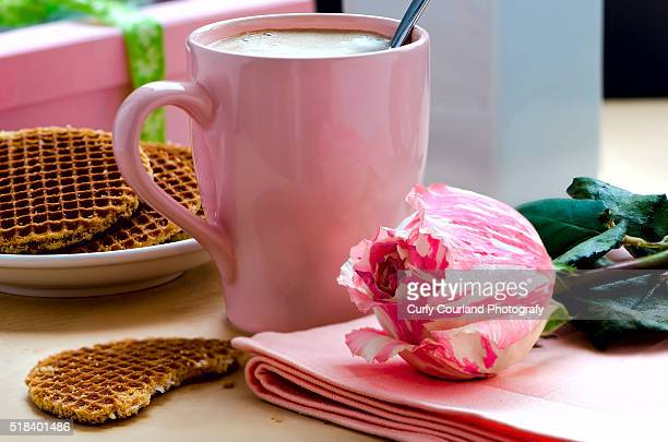Coffee in the pink cup, Belgian caramel waffles and rose