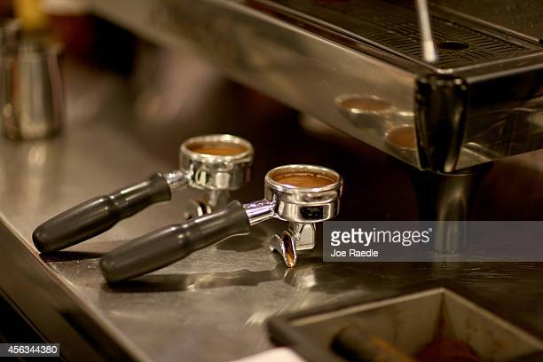 Coffee is prepared to make an espresso at Eternity Coffee Roasters during National Coffee Day on September 29 2014 in Miami Florida The day is for...