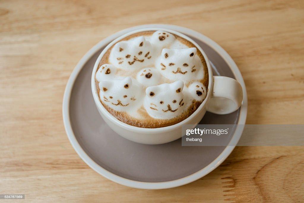 Coffee latte art 3D CATS : Stock Photo