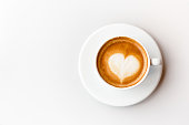 Top view of coffee latte on white background, heart shape