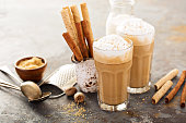 Coffee latte or cappuccino with brown sugar and spices