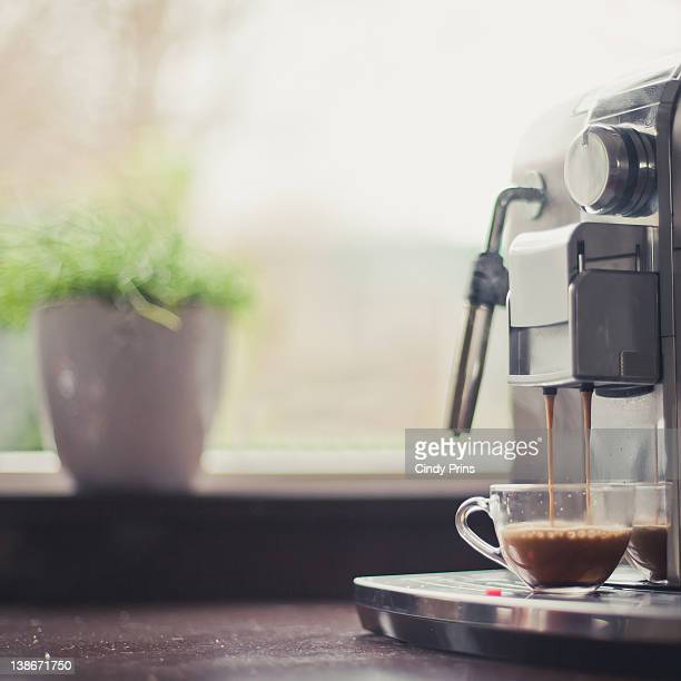 Coffee machine making espresso