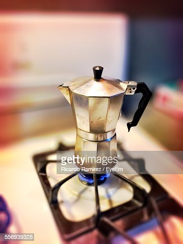 Coffee Maker On Gas Stove Stock Photo Getty Images