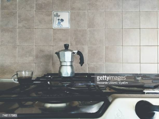 Coffee Maker On Stove At Kitchen