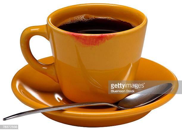 Coffee mug with lipstick smear