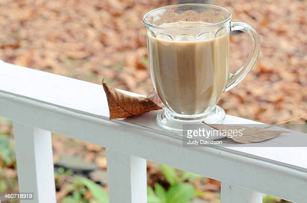 Coffee on the porch in fall