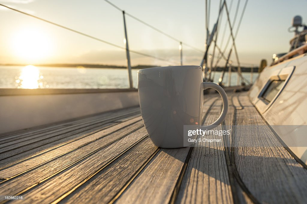 Coffee or tea cup on 62 foot sailboat : Stock Photo