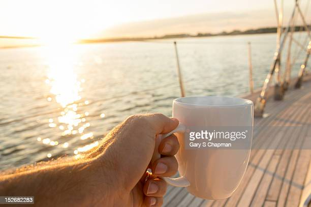 Coffee or tea cup on 62 foot sailboat