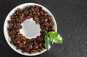 Coffee beans with stone plate