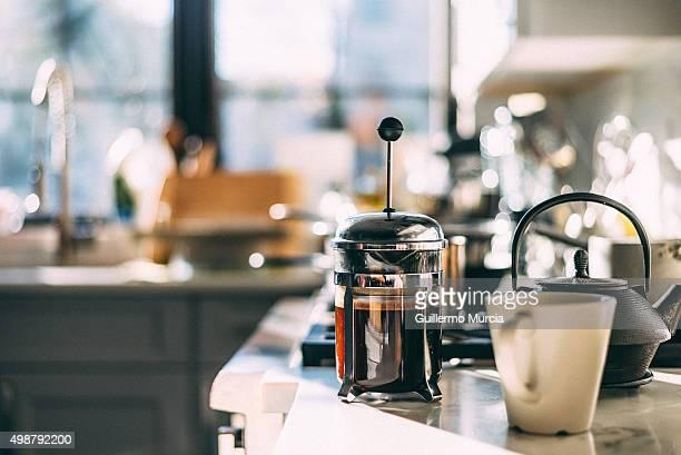 Coffee Pot and Mug on Kithen Counter