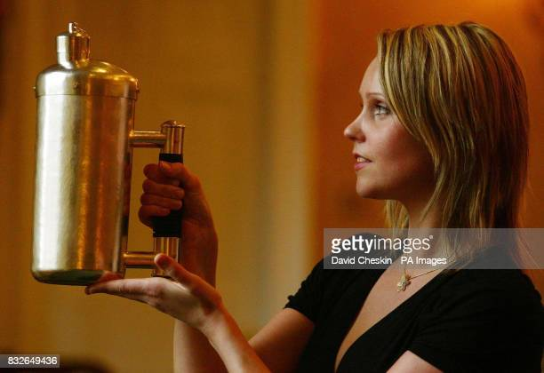 A coffee pot designed by Marion Kane for Ewan McGregor shown as part of the Silver of the Stars collection unveiled at Goldsmiths' Hall Edinburgh