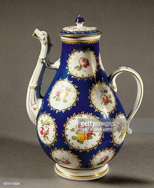 Coffee pot in blue and gold with floral and rose decorations white porcelain Ginori manufacture Doccia Sesto Fiorentino Tuscany Italy 18th century