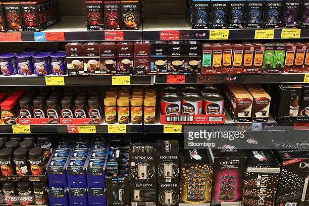 Coffee products sit on display for sale at an Aldi Stores Ltd food store in Sydney Australia on Thursday June 25 2015 Australia's biggest...
