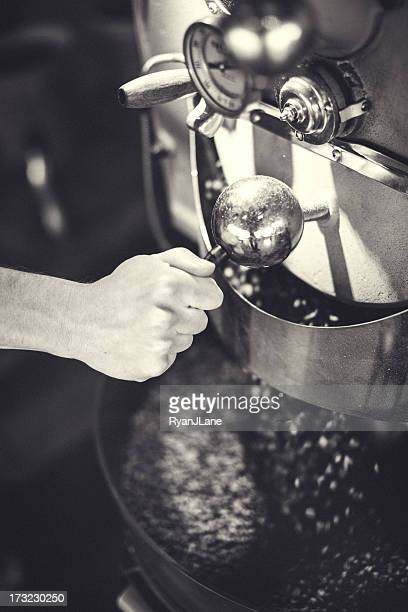 Coffee Roaster in Action Black and White