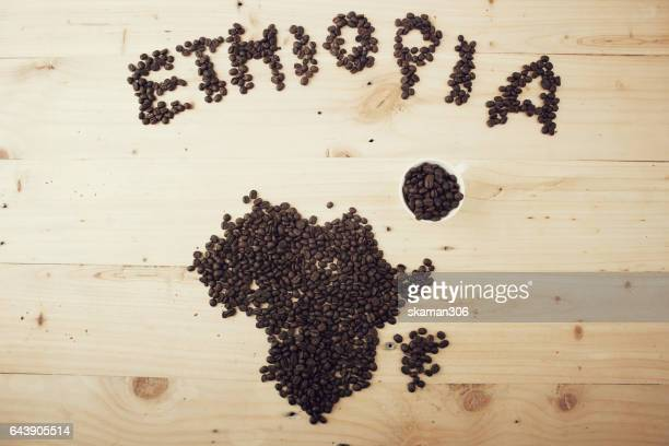 Coffee seed  set  font and pattern of africa .Ethiopia and africa coffee