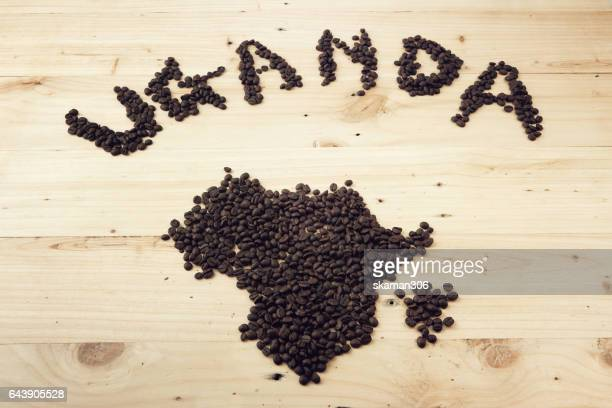 Coffee seed  set  font and pattern of africa .Uganda and africa coffee