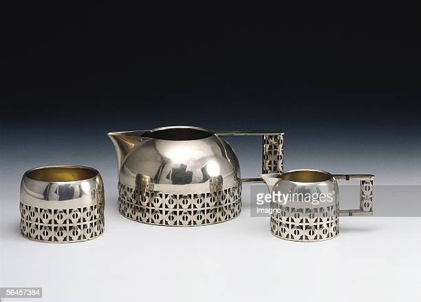 Coffee set tripartite consisting of a coffee pot a milk can and a sugar bowl Around 1905 Silver or silverplated babbitt By the Wiener Werkstaette...