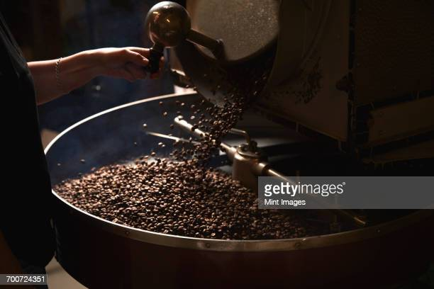 A coffee shop. A metal drum with roasting coffee beans and a central paddle.