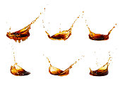 coffee splash collection, isolated on white background. Set of brown splashes
