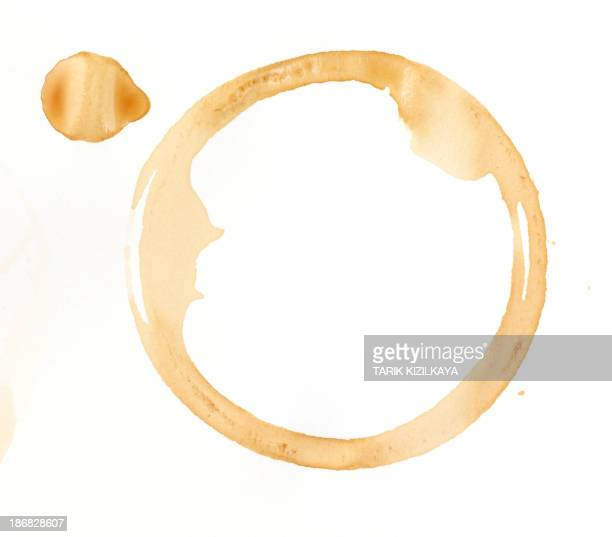 A coffee stain on a white background