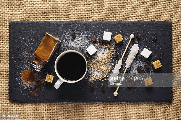 Coffee, Sugar and Cinnamon on Rustic Stone Tray