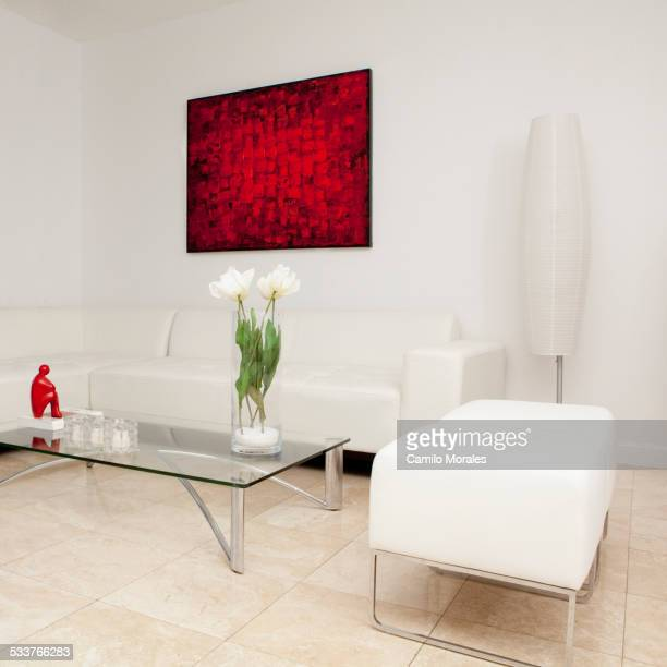 Coffee table, sofas and wall art in modern living room