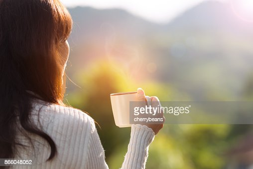 Coffee time on the mountain, rear view. : Stock Photo