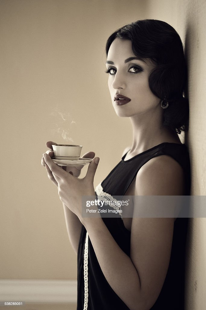 Coffee time with a retro woman