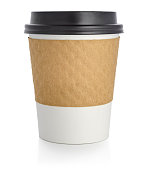 A disposable coffee cup to go.