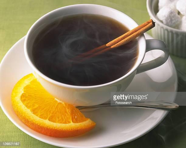 Coffee with Cinnamon and Orange, High Angle View, Full Frame