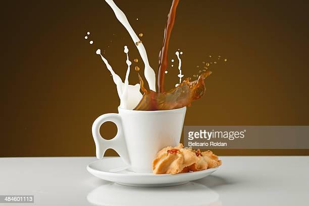 Coffee with milk splash