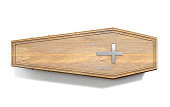 A wooden coffin with a metal crucifix and handles on an isolated white studio background - 3D Render