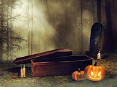 Old wooden coffin with candles and Halloween pumpkins at night. 3D render.