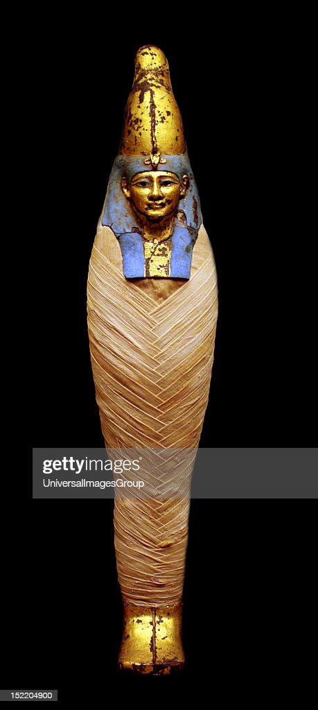 Coffin and Mummy of IrtiRutja Ptolemaic Period 30530 BC Said to be from Akhmim Painted gessoed and gilded wood linen painted and gilded cartonnage