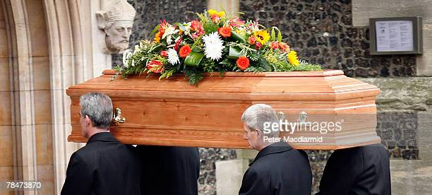 A coffin carrying the body of Meredith Kercher arrives at Croydon Parish Church South London on December 14 2007 Three people are being held by...