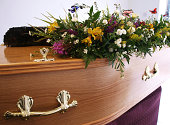 Coffin decorated with flowers