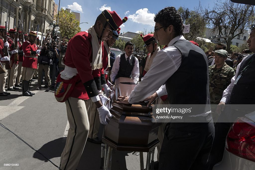 Coffin of Bolivian deputy interior minister Rodolfo Illanes are trasnported before the wake of Bolivian Deputy Interior Minister Rodolfo Illanes at...