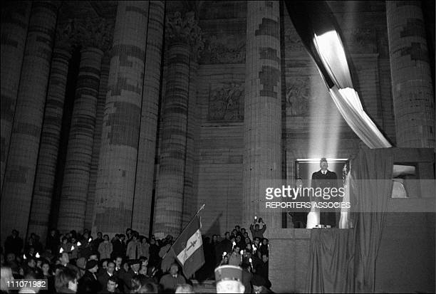 Coffin of Jean Moulin in the front of the Pantheon in Paris France on December 19 1964