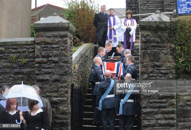 Coffin of Nikkita Walters is carried into St David's Church Tonyrefail