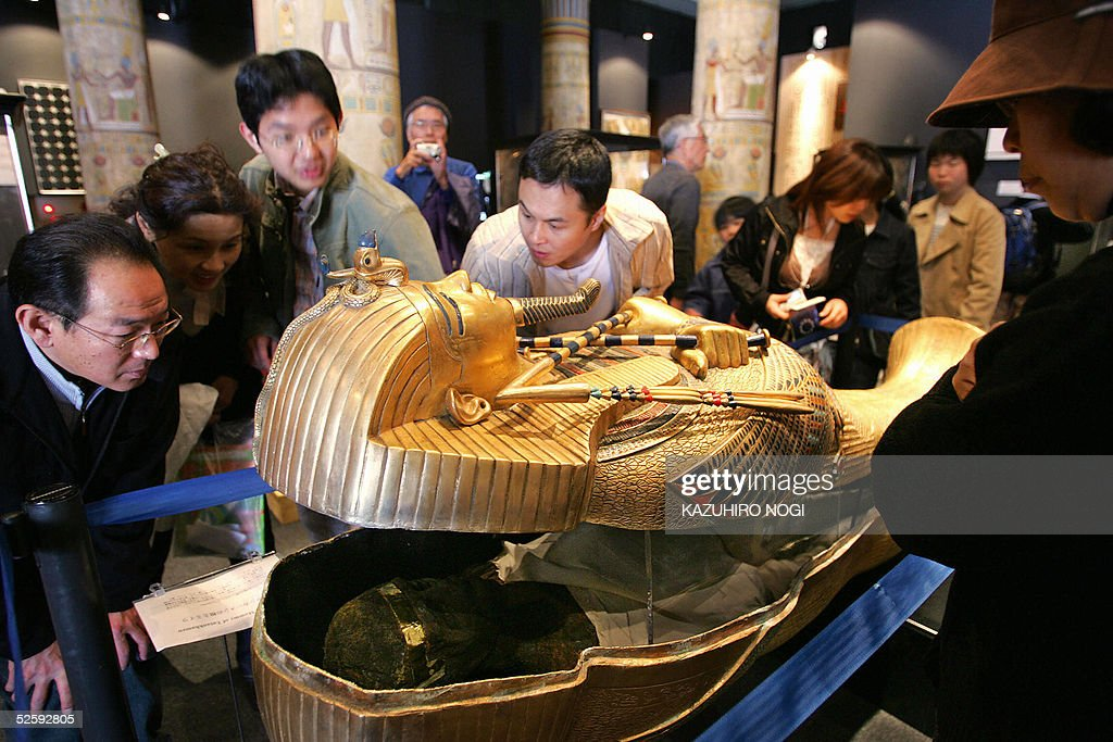 A coffin of Tutankhamen is displayed at the Egyptian Pavilion at the 2005 world exposition in Nagakute Aichi Prefecture 06 April 2005 The Expo set up...