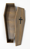 A slightly open empty wooden coffin with a metal crucifix and handles on an isolated white studio background - 3D Render