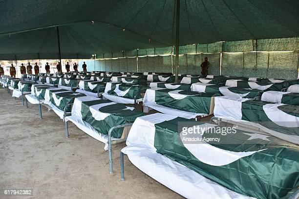 Coffins are seen as Pakistani Prime Minister Nawaz Sharif Chief of Amry Staff General Raheel Sharif Pakistani Interior Minister Nisar Ali Khan Chief...