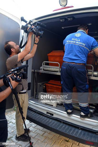 Coffins of Syrian children Aylan his brother Galip and their mother Zahin Kurdi who drowned after their boat sank en route to the Greek islands in...