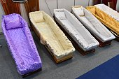 Luxury coffins at a funeral exhibition
