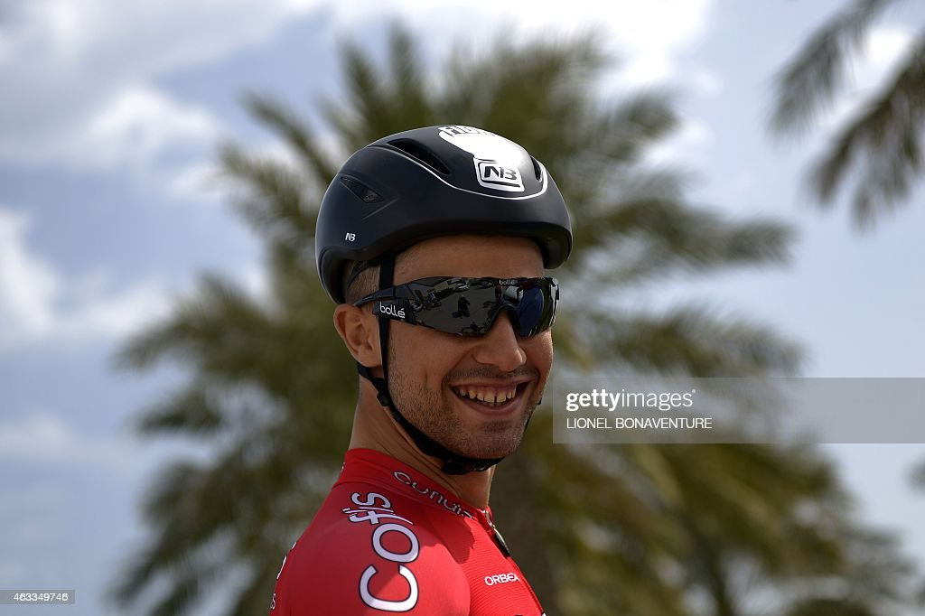 Cofidis' Team leader, French <a gi-track='captionPersonalityLinkClicked' href=/galleries/search?phrase=Nacer+Bouhanni&family=editorial&specificpeople=8831629 ng-click='$event.stopPropagation()'>Nacer Bouhanni</a> is pictured before the sixth and last stage of the 2015 Tour of Qatar, between Sealine beach resort and Doha corniche (113,5 kms) on February 13, 2015. Dutch rider Niki Terpstra of the Etixx team retained the leader's gold jersey of the Tour of Qatar after today's last stage won by Irish Sam Bennett as Peter Sagan won the pearl white jersey of best young rider and Norway's Alexander Kristoff keeps the silver jersey of general points classification best rider.